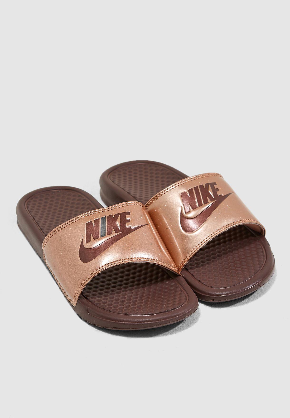 3da2215879fa Shop Nike burgundy Benassi JDI Print Slides 618919-900 for Women in ...