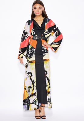 Threadz Printed Buckle Kimono Maxi Dress