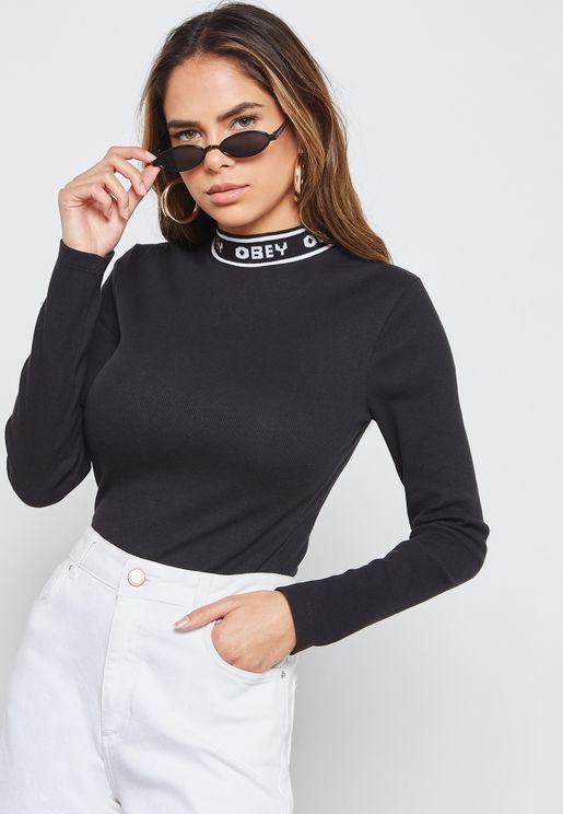 Logo Trim High Neck Long Sleeve T-Shirt