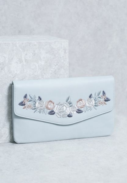 Embroidery Flap Over Clutch