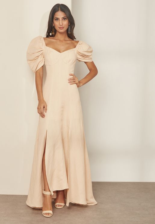 Puff Shoulder Square Neck Maxi Dress