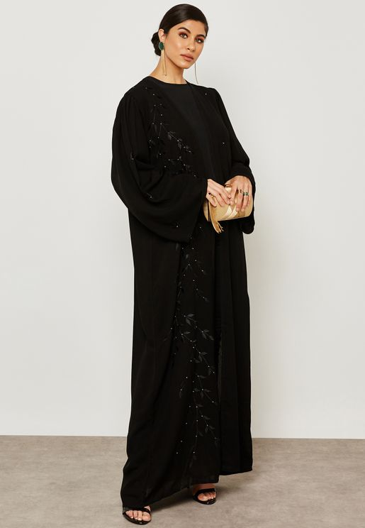 One Side Embroidered Overlap Abaya