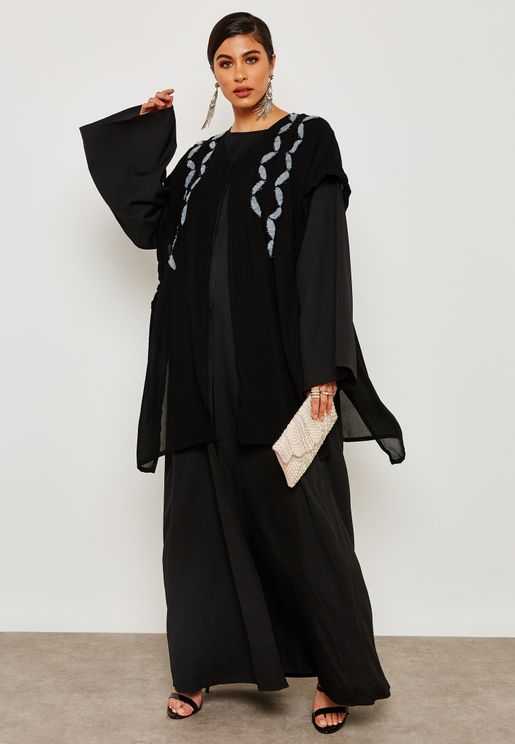Detailed Handwork Jacket Abaya