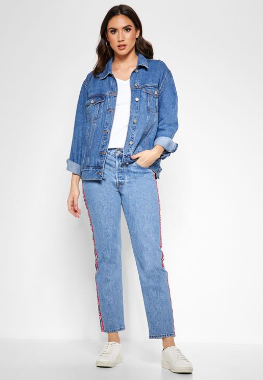 Logo Stripe Straight Jeans