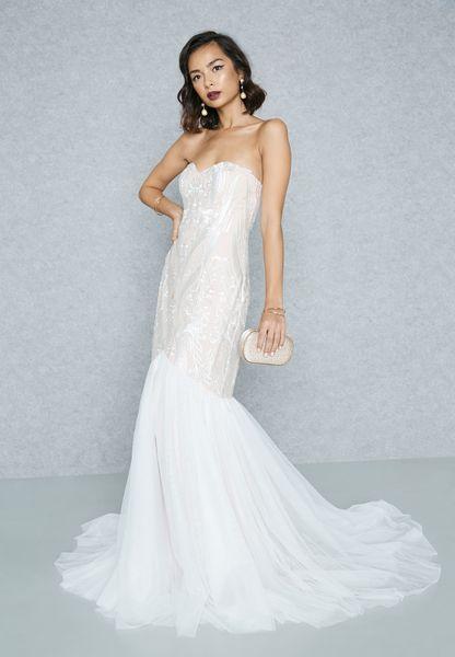 Bandeau Lace Fishtail Maxi Dress