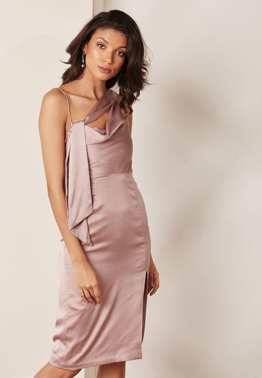 Drape Front Split Dress