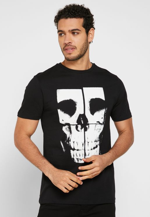 Skull Square Crew Neck T-Shirt