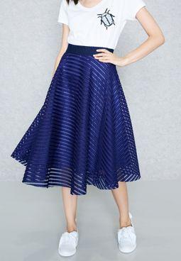 Striped Mesh Skater Skirt