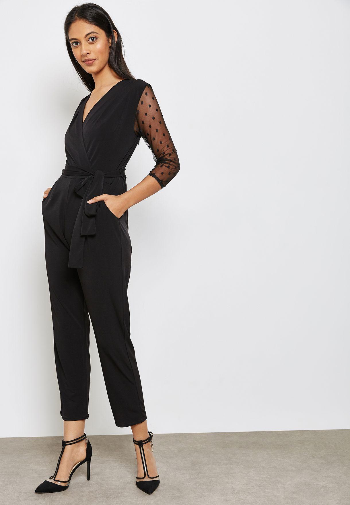f3e46596178f Shop Wallis Petite black Mesh Sleeve Jumpsuit 090901001 for Women in Qatar  - WA008AT86ICJ