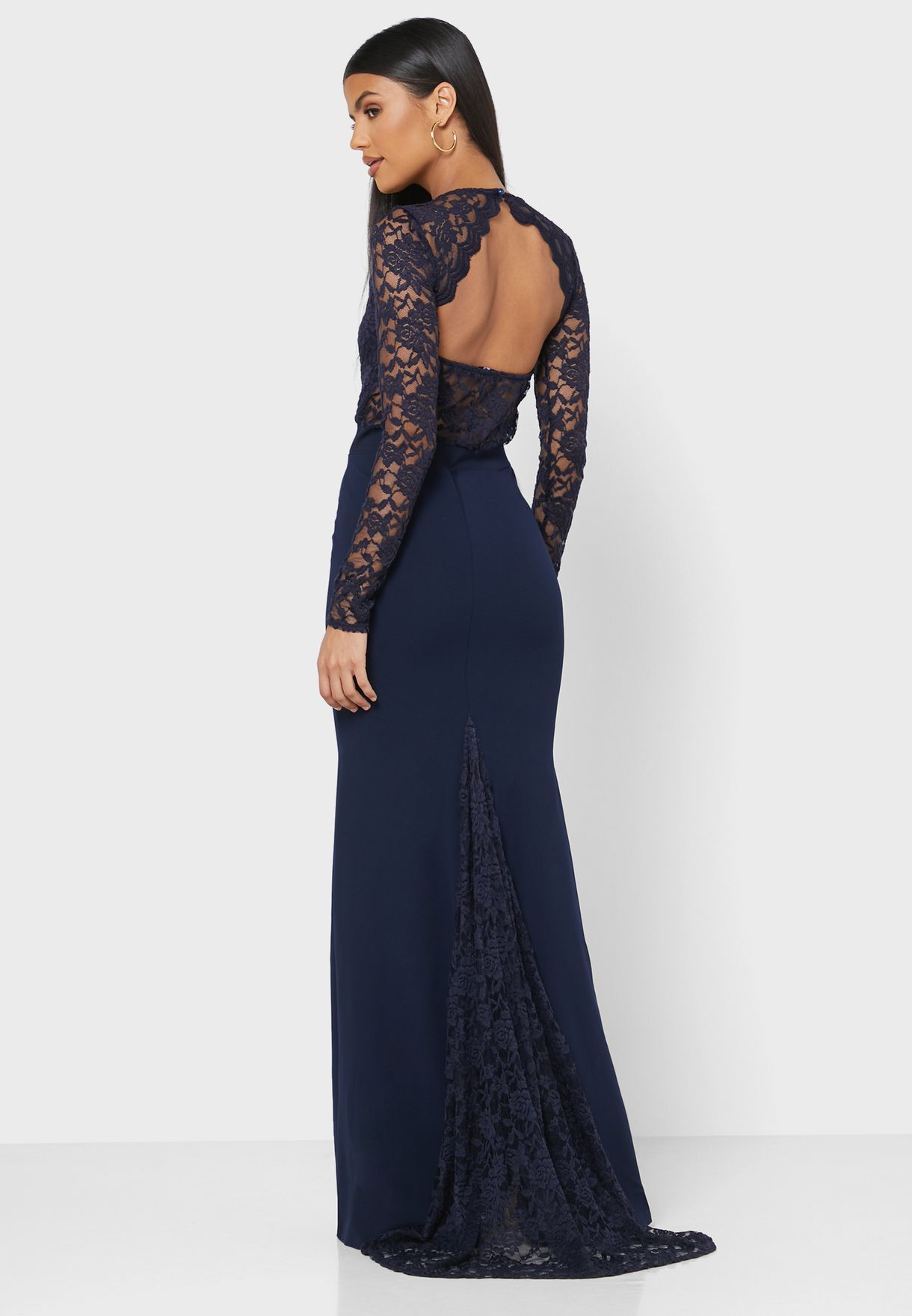 Open Back Lace Detail Fish Tail Dress