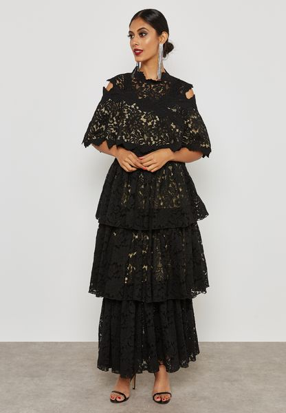 Cold Shoulder Lace Tiered Dress