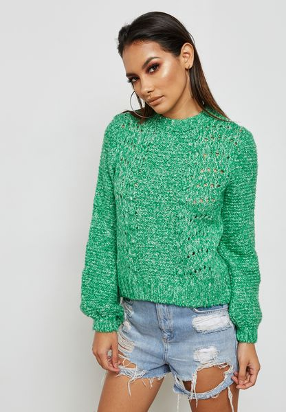 Cable Knit Volume Sleeve Sweater