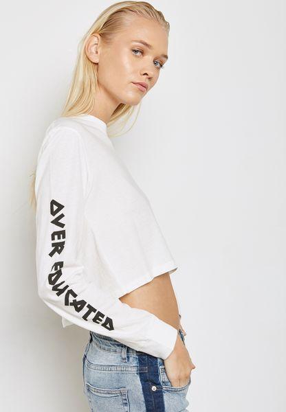 Slogan Sleeve Long Sleeve T-Shirt