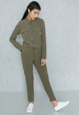Pocket Shirt Jumpsuit