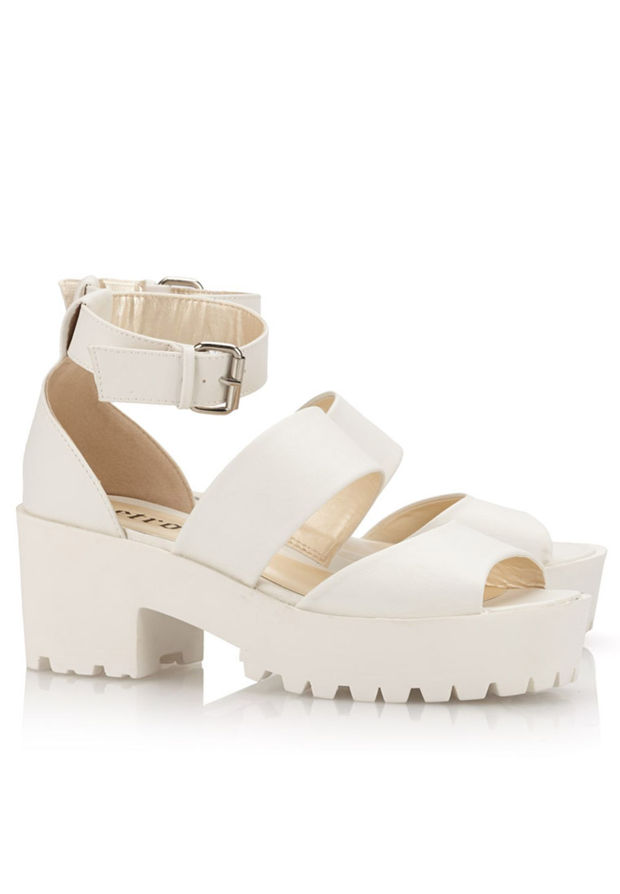 abcebf9ff Shop Retro white Chunky Block Heel Sandals for Women in UAE ...
