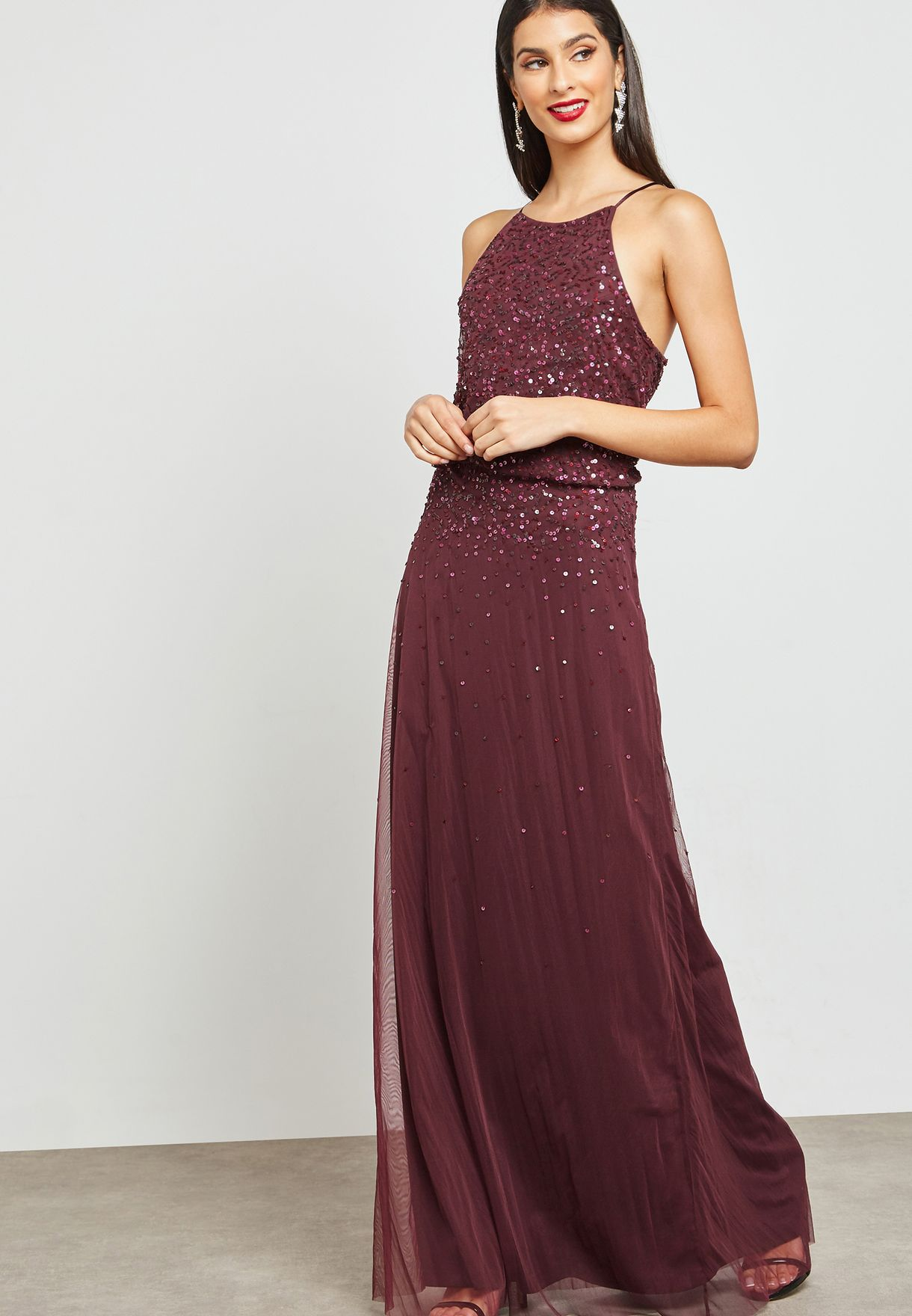 High Neck Sequin Detail Dress