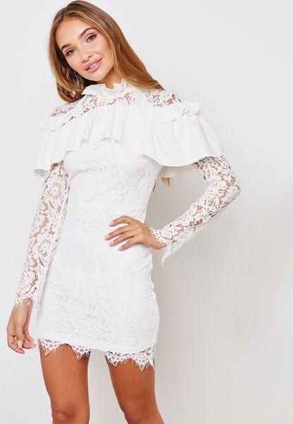 Ruffle Shoulder Bodycon Dress