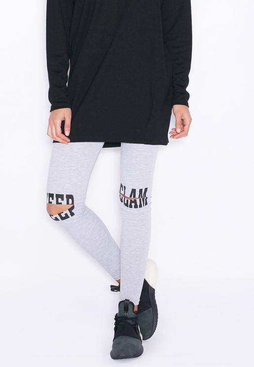 Slogan Knee Slit Leggings