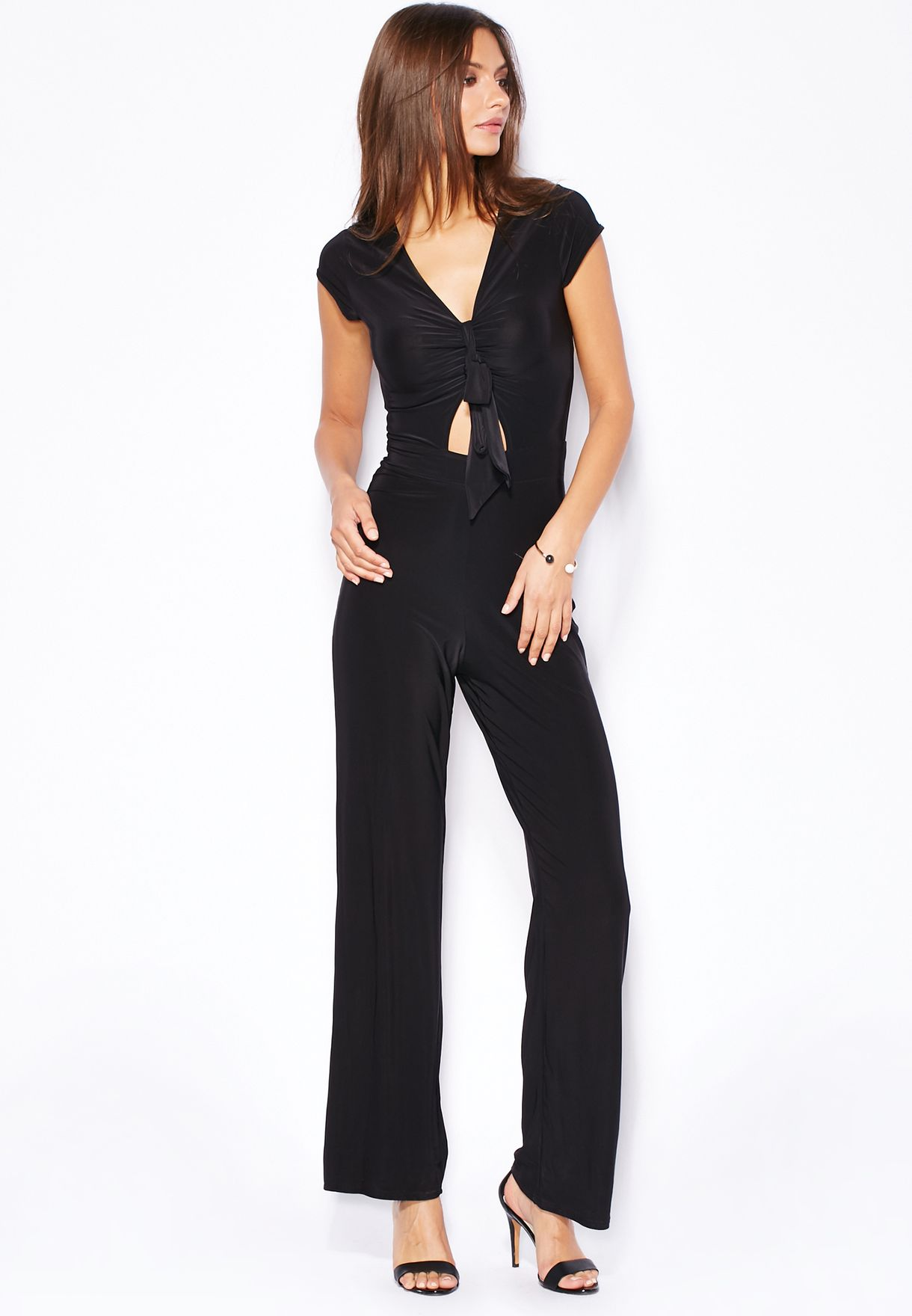 e6b3db0d84 Shop Boohoo black Tie Front Jumpsuit for Women in Kuwait - BO797AT86PYR