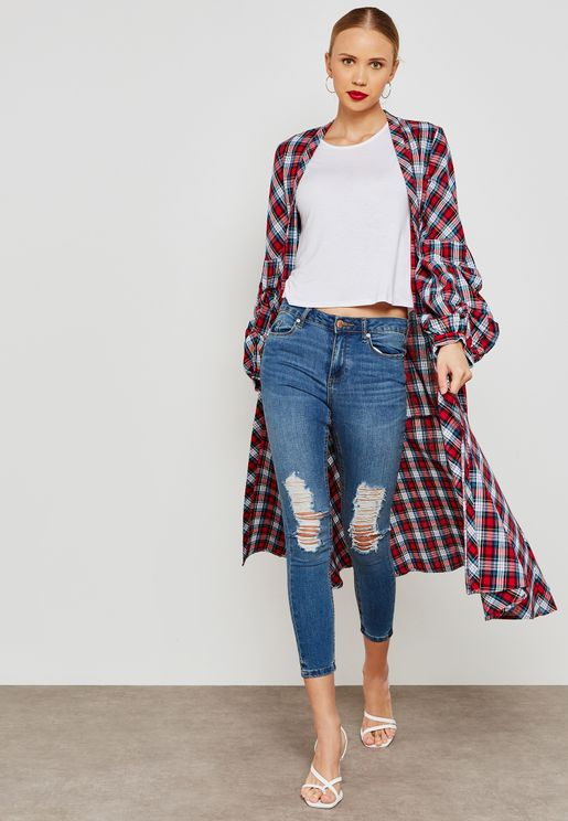 Checked Long Line Jacket