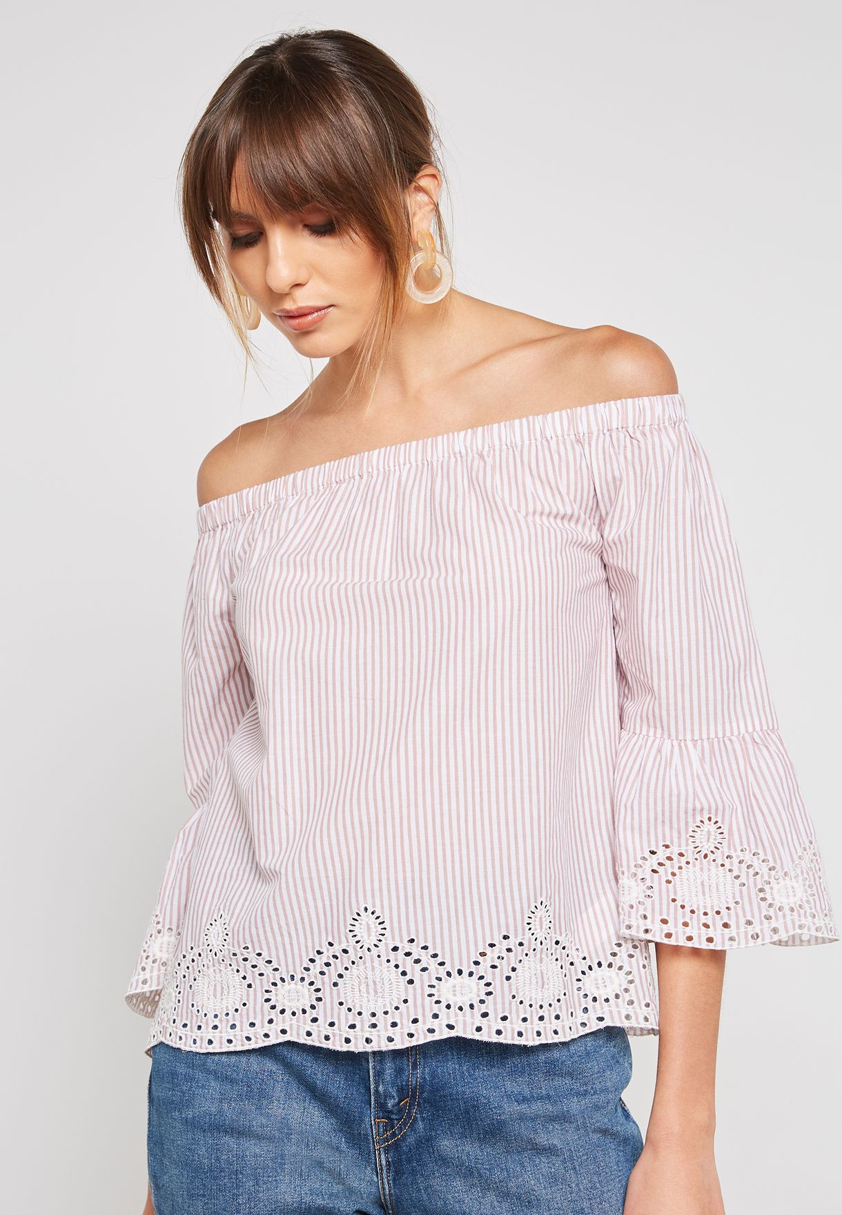 Striped Broderie Bardot Top