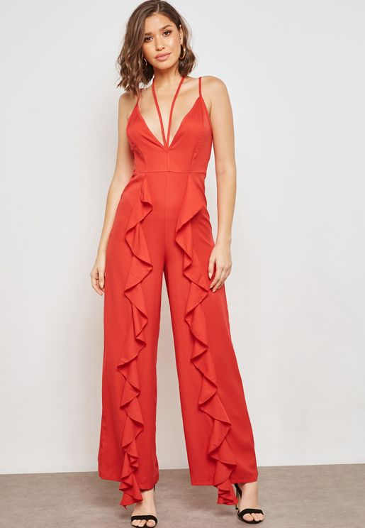 Ruffle Paneled Strappy Jumpsuit