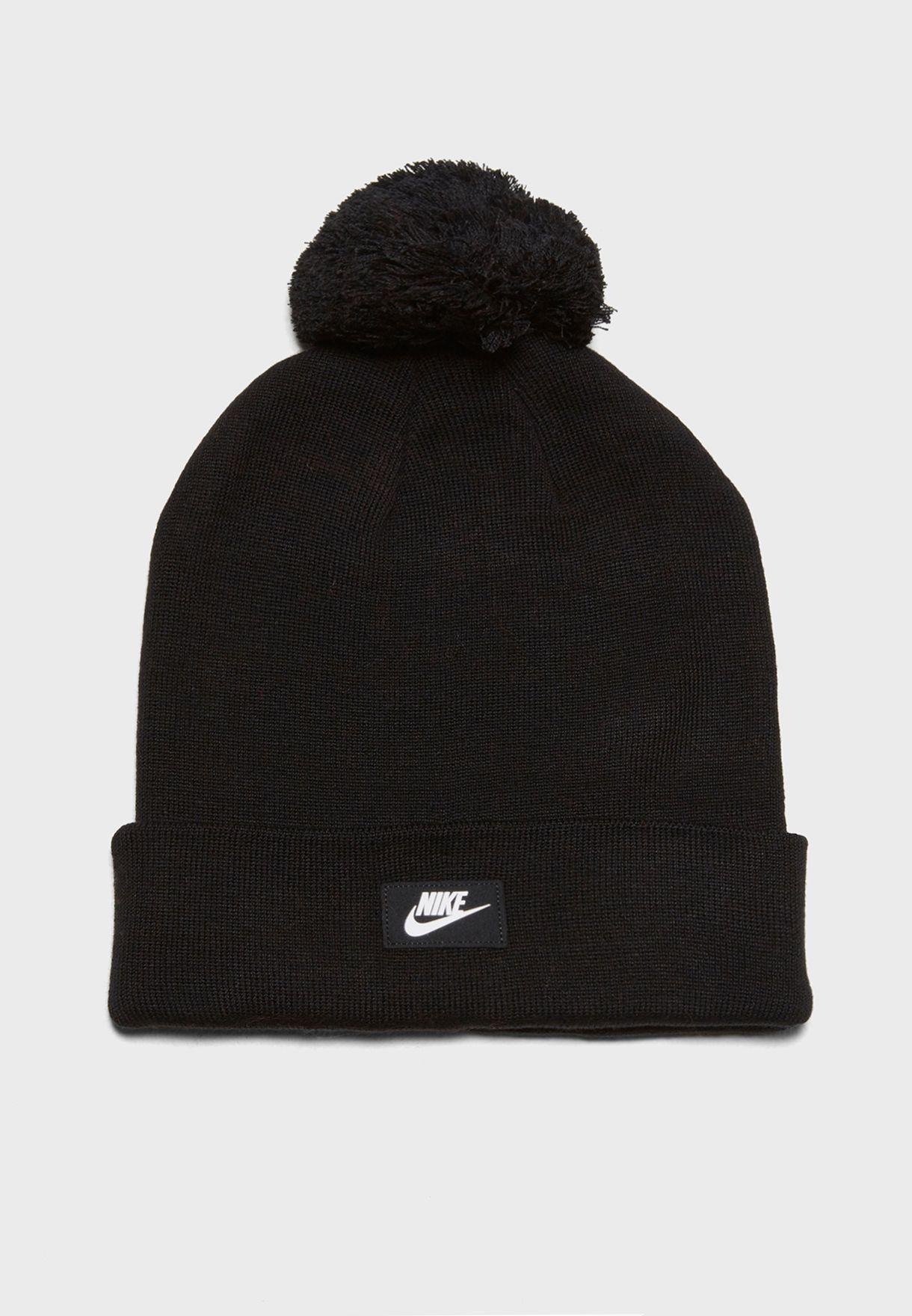 Shop Nike black Logo Pom Beanie 878119-010 for Men in Oman - NI727AC86SKR 765266fe7b8