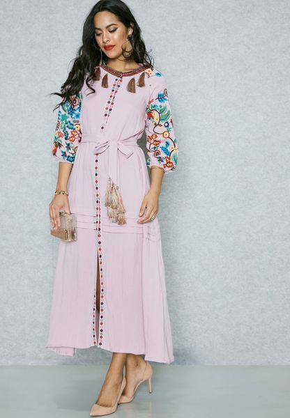 Embroidered Tassel Self Tie Dress