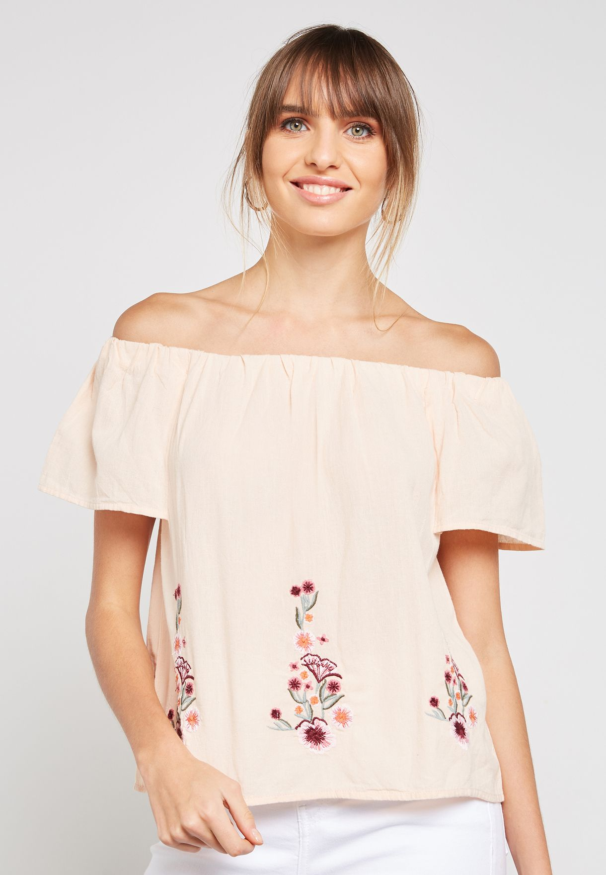 2ea5f81ec59e50 Shop Dorothy Perkins neutrals Embroidered Bardot Top 67297515 for Women in  Qatar - DO860AT86PWF