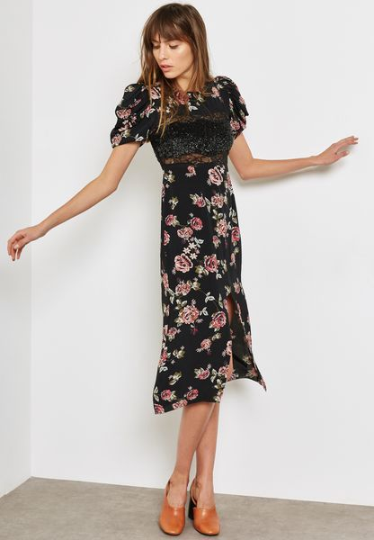 Sequin Floral Midi Dress