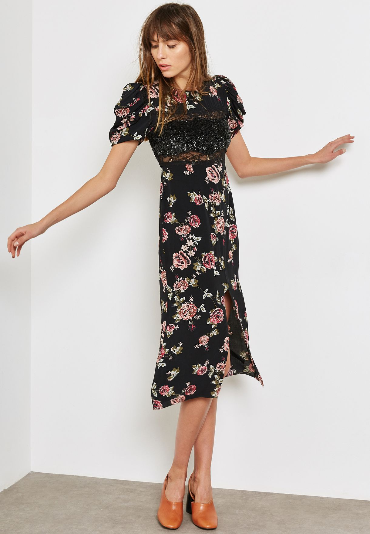 d72d002bf97bf Shop Topshop black Sequin Floral Midi Dress 10G05MMUL for Women in ...
