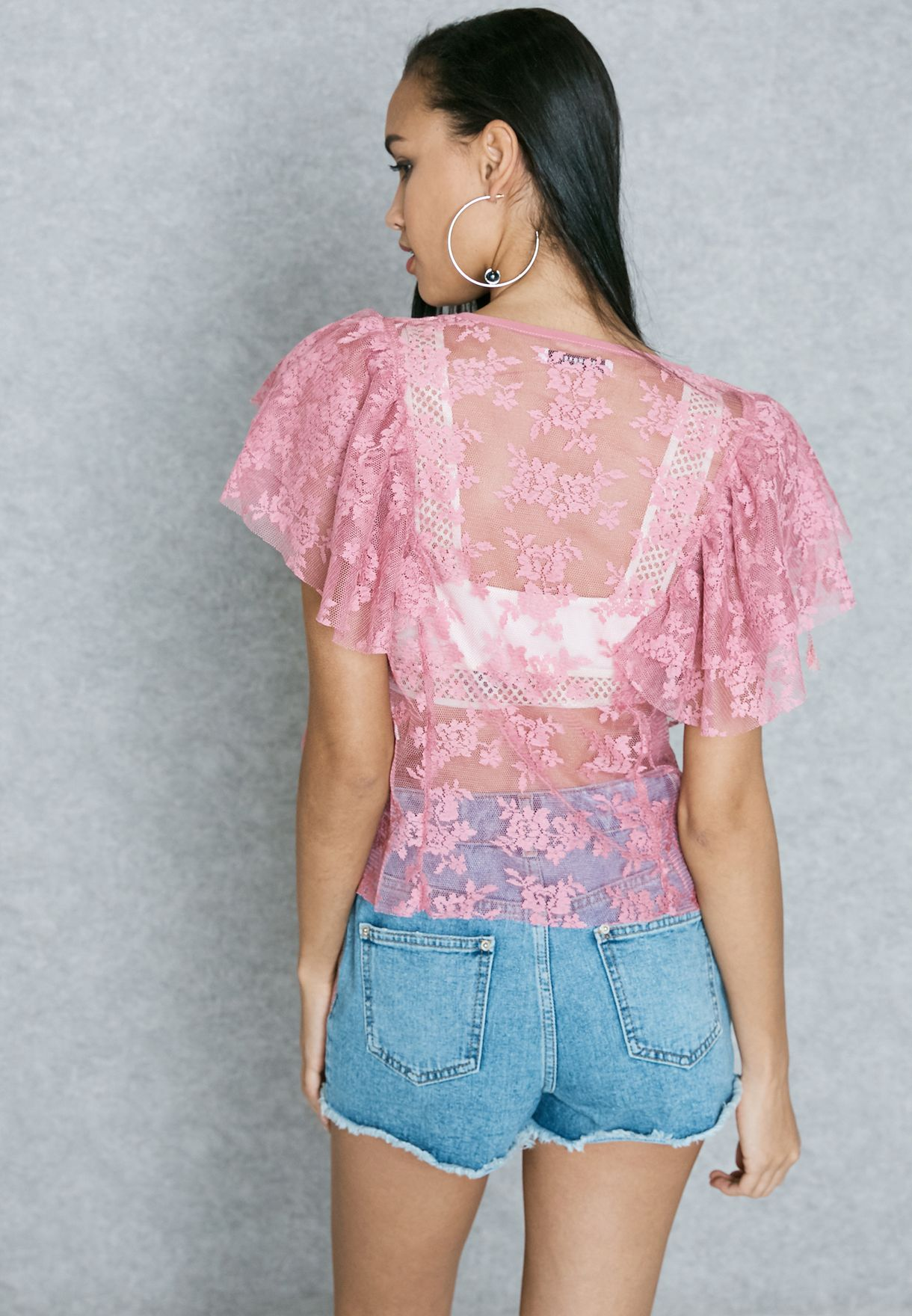 9c158f5101d Shop Glamorous pink Sheer Top AN3238 for Women in Saudi - GL206AT86MGF