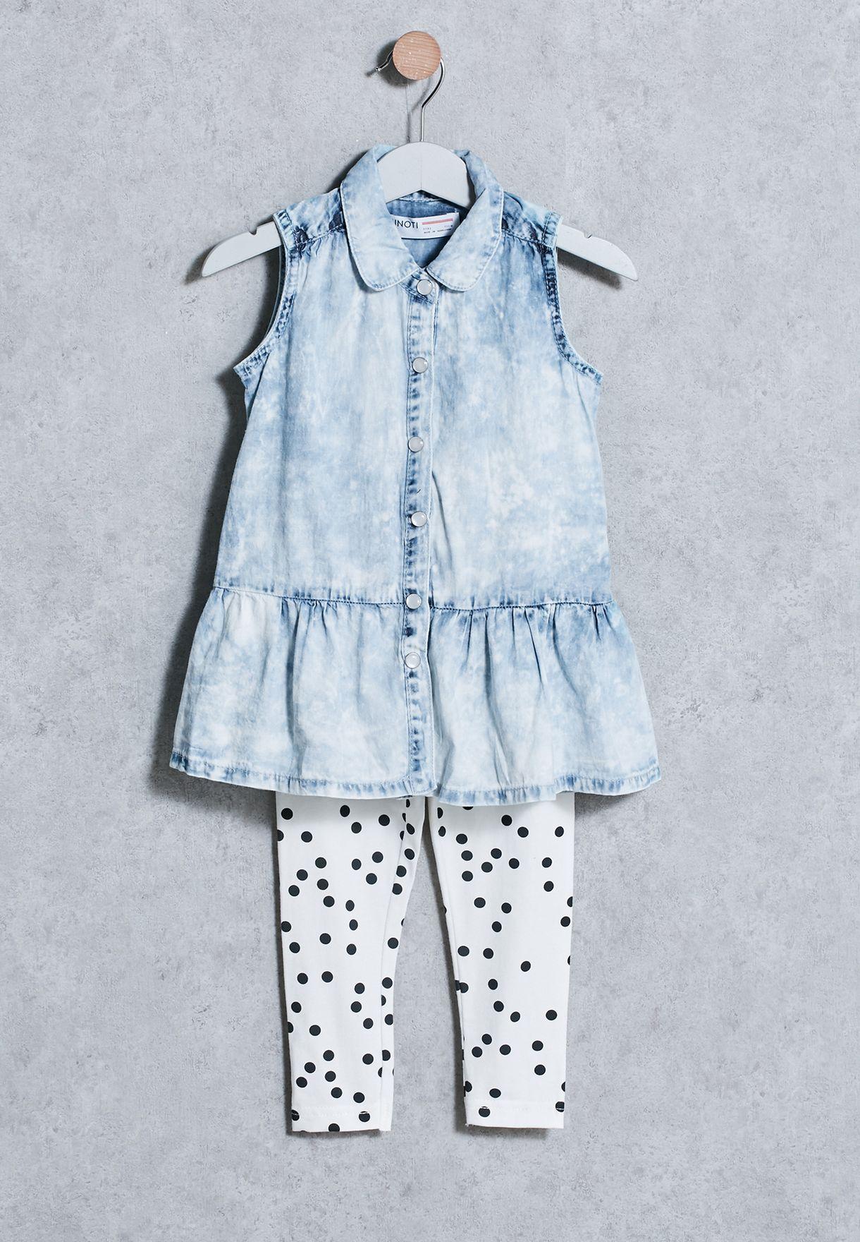 MINOTI Girls Denim Shirt /& Leggings