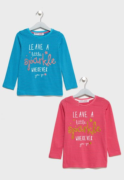 Little 2 Pack Sparkle Striped T-Shirts