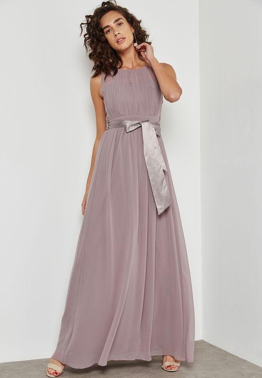 Tie Waist Bridesmaid Maxi Dress