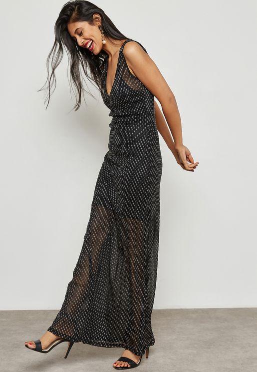 Mesh Dot Maxi Dress