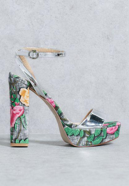 Yana Floral Platform Heeled Sandals