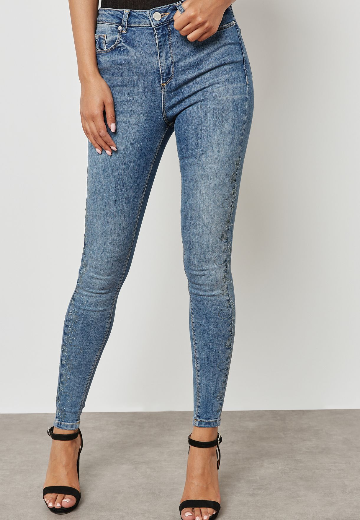 Lizzie Mid Rise Embellished Skinny Jeans