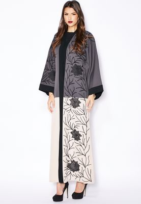 Haya's Closet Colourblock Embroidered Abaya