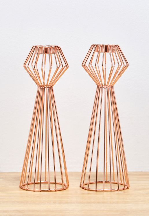 Pair of Rose Gold Geometric Tea Light Holders