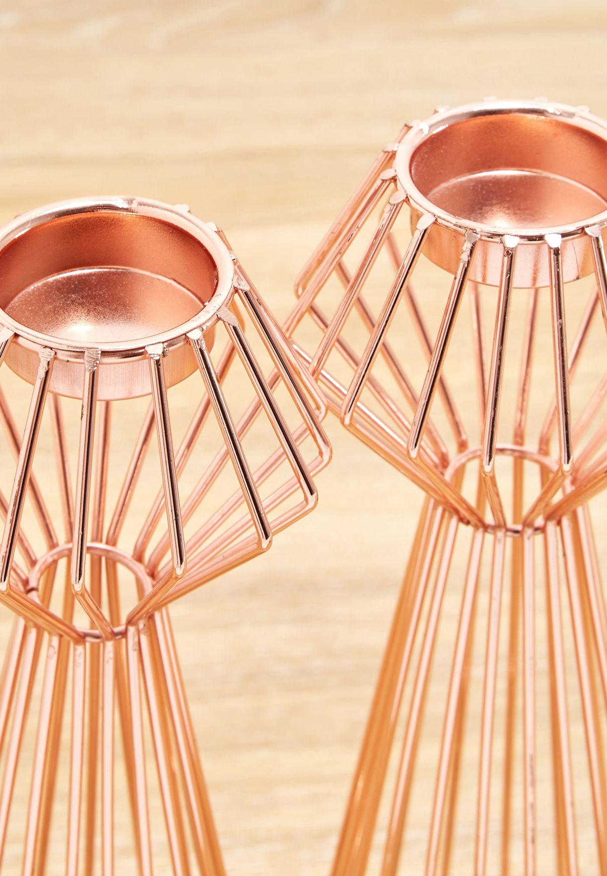 Pair of Rose Gold Geometric Tea Light Holders