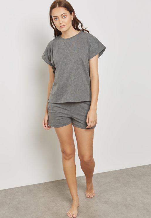 Roll Up Sleeve Pyjama Shorts Set