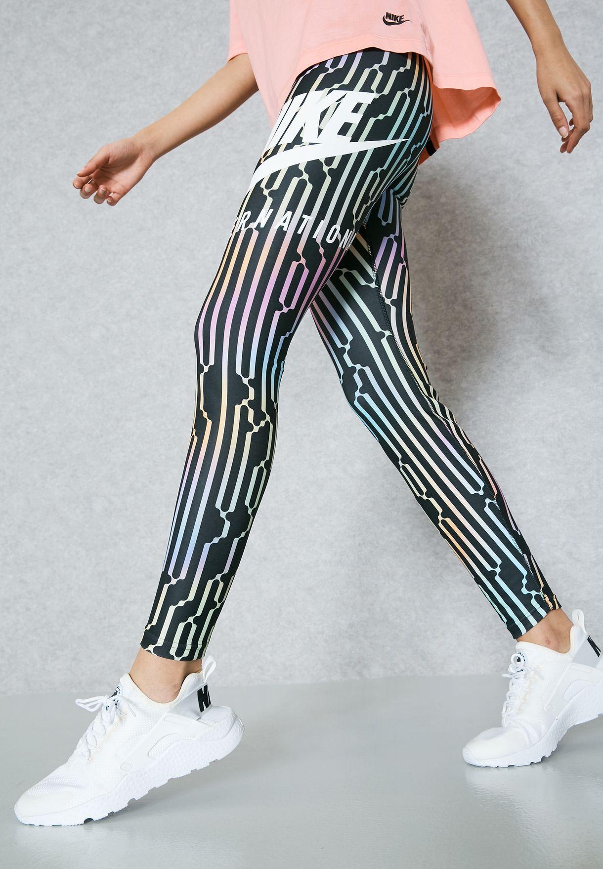 9111e7843efa3 Shop Nike prints International Leggings 881176-010 for Women in ...