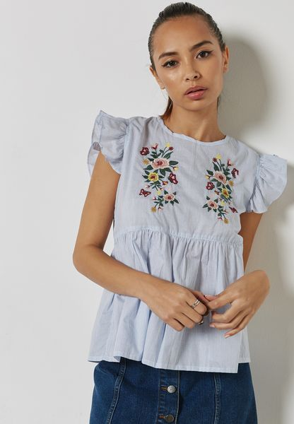 Ruffle Detail Embroidered Top