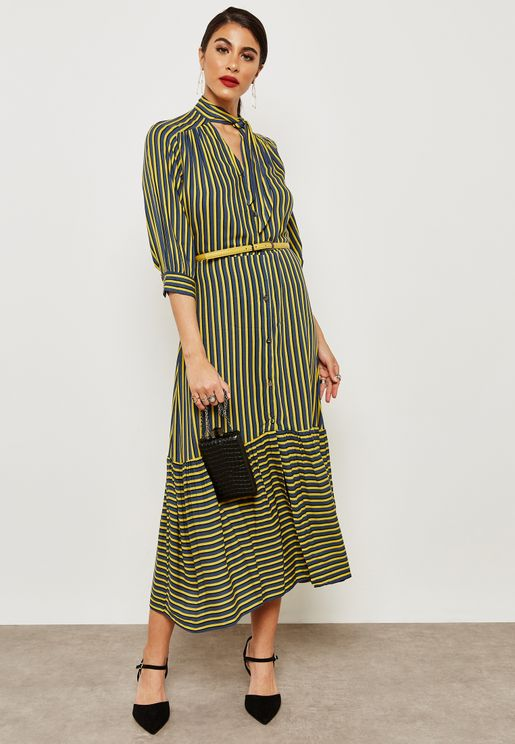 Tie Neck Striped Dress