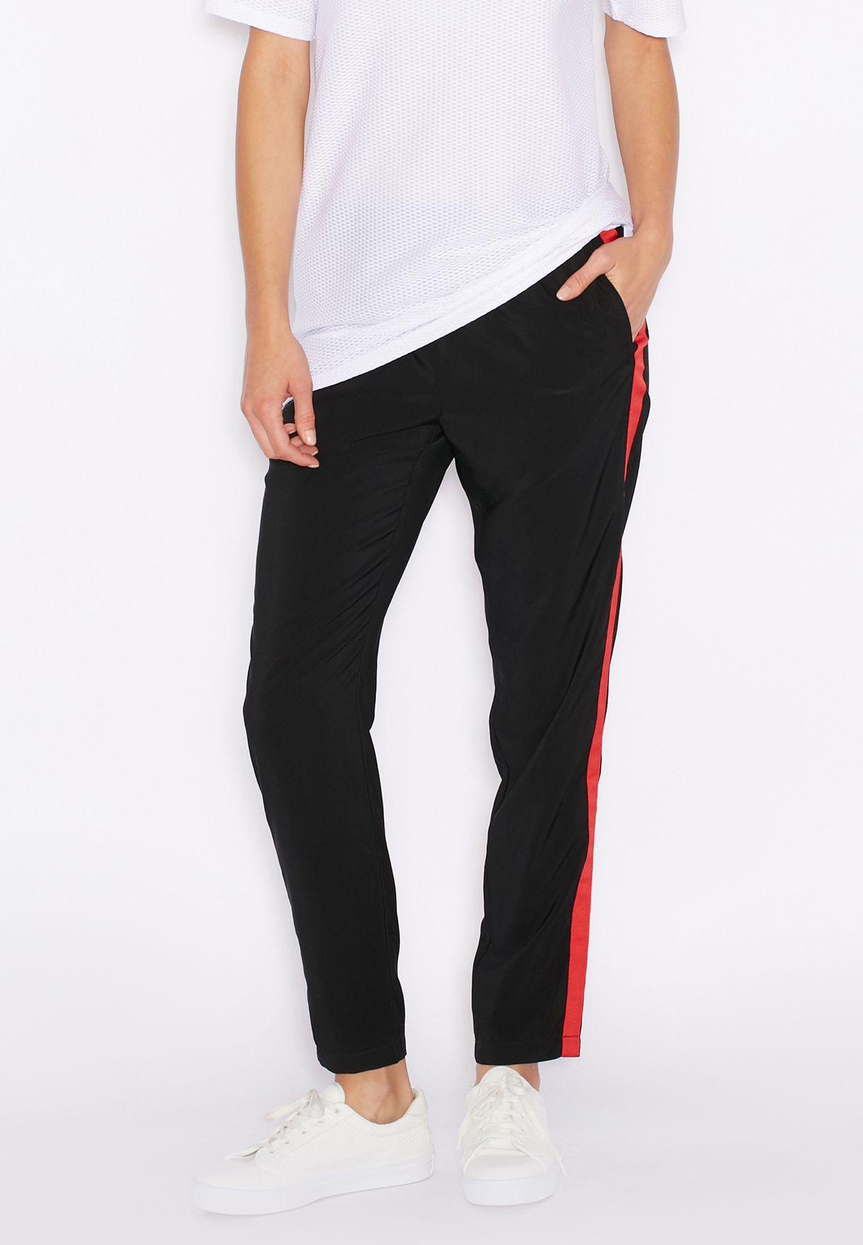 dc60be8958cf45 Shop Topshop black Side Striped Jogger Pants 16N14JBLK for Women in ...