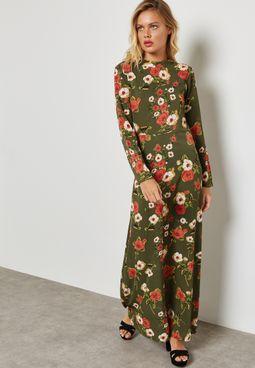 Floral Print Tie Back Maxi Dress