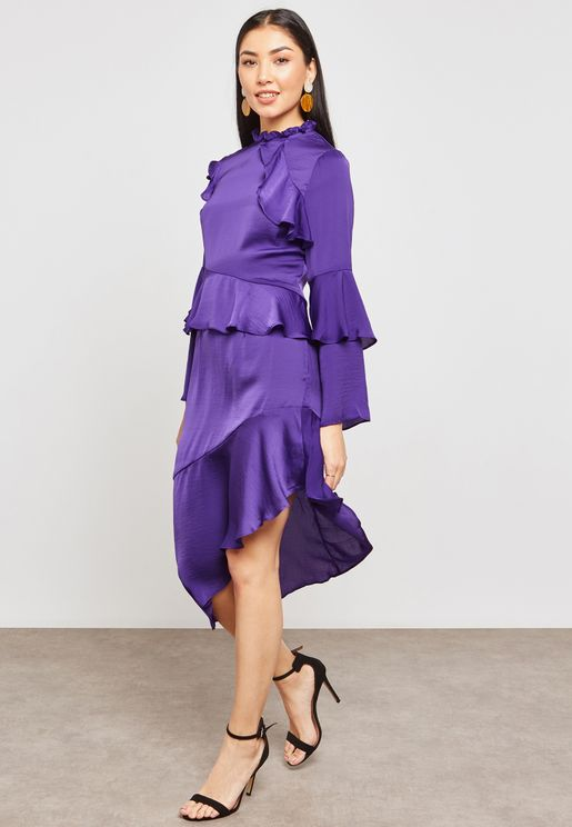 High Neck Ruffle Asymmetric Dress