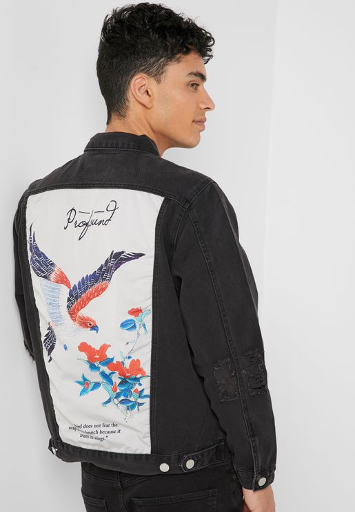 Bird Poem Back Print Denim Jacket