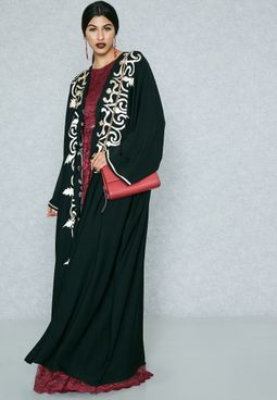 Embroidered Front Trim Abaya